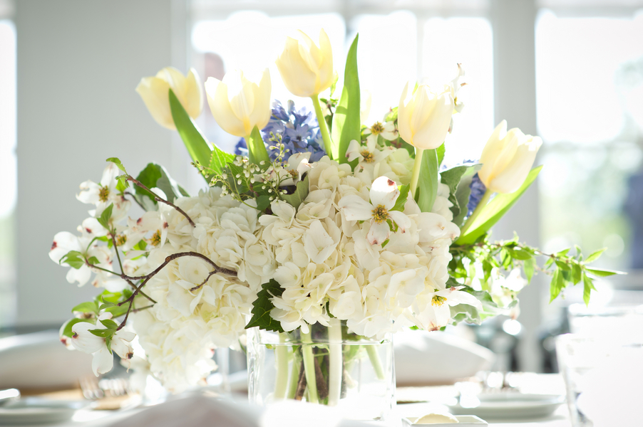 White tulip and hydrangea centerpiece elizabeth anne