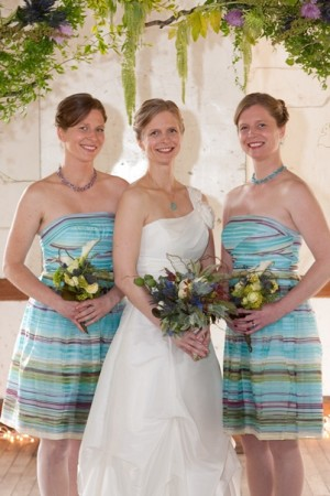 Striped-Bridesmaids-Dresses