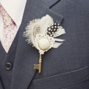 Unique-Key-Feather-Boutonniere