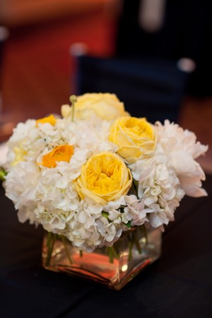 White-Hydrangea-Yellow-Rose-Centerpiece