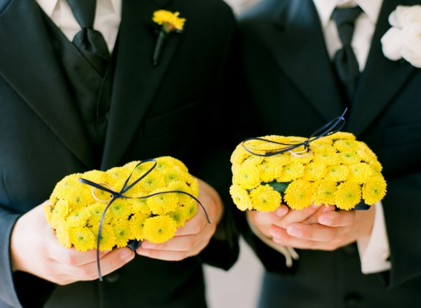 Yellow-Button-Mum-Ring-Pillows