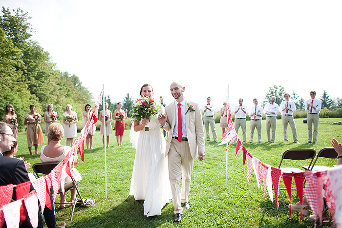 Pink-Red-Country-Wedding-Ceremony