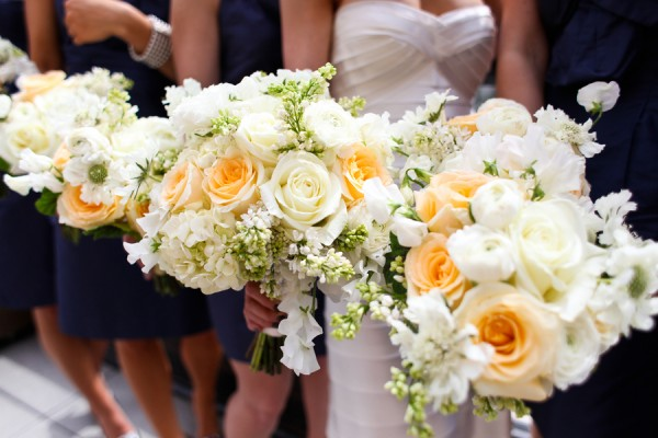 Pretty-White-Peach-Yellow-Bouquets