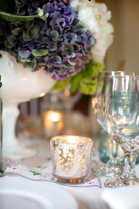 Purple blue hydrangea wedding centerpiece elizabeth anne