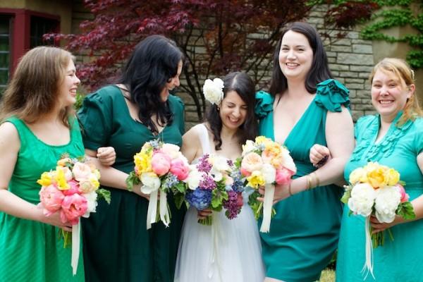 Shades-of-Green-Mismatched-Bridesmaids