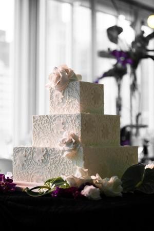 Square-Tiered-White-Wedding-Cake