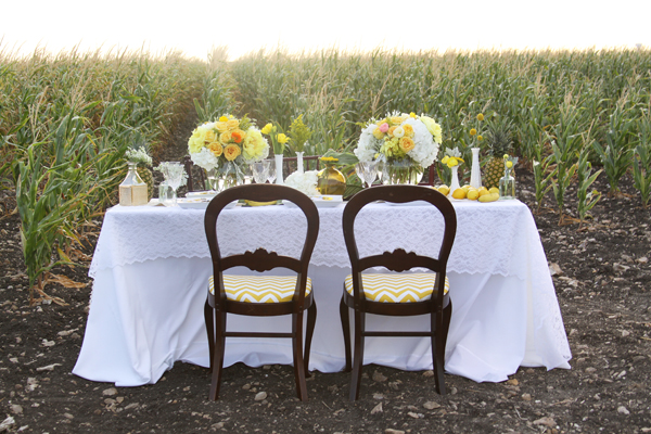 Yellow Chevron Chairs Wedding Decor