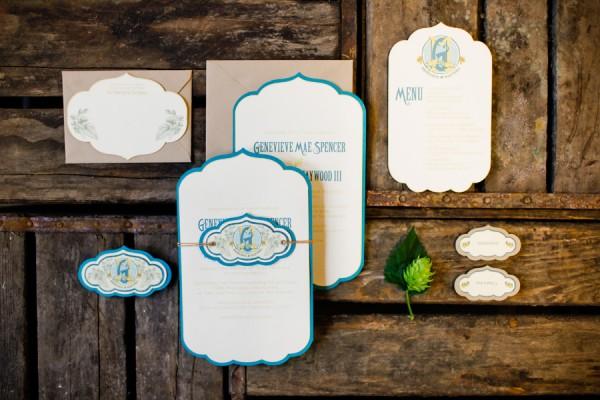 Blue-and-Kraft-Paper-Die-Cut-Wedding-Invitations