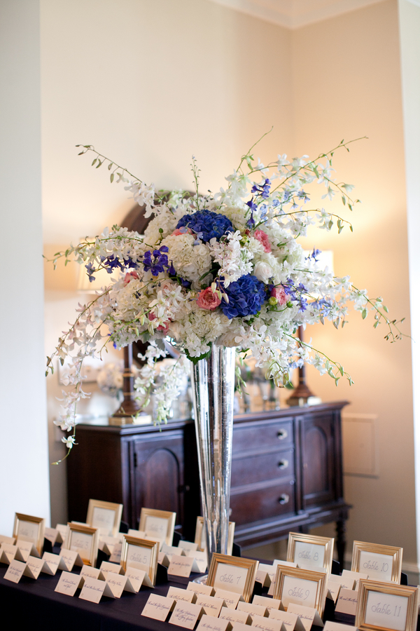 Cornflower blue and white tall centerpiece elizabeth - Blue and white centerpieces ...