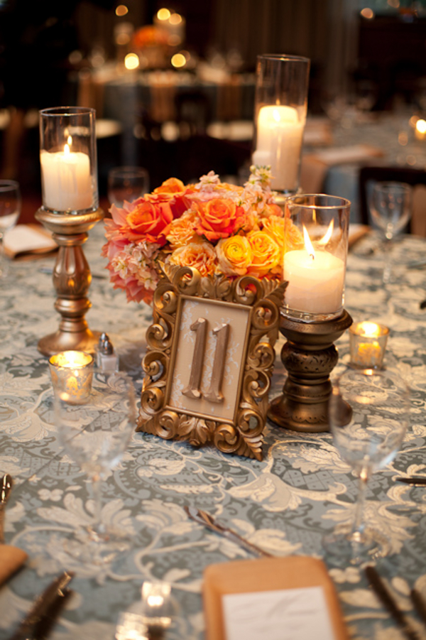 Gold Bronze Orange Centerpiece Elizabeth Anne Designs