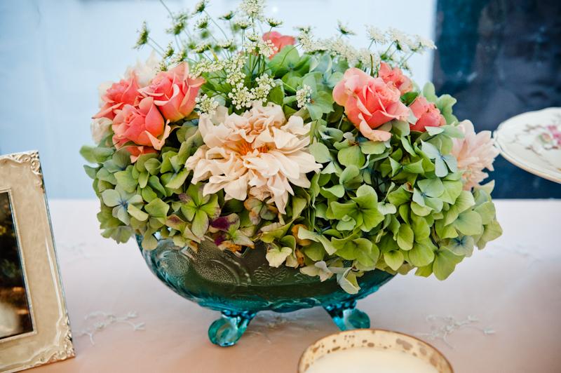 Green hydrangea pink rose centerpiece elizabeth anne