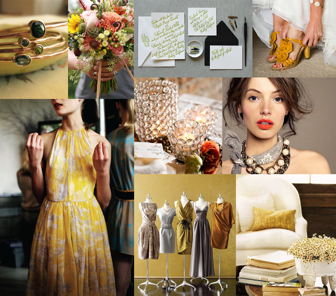 Mustard Olive And Dove Gray Wedding Inspiration Board