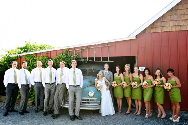 Rustic Lime Green Bridal Party
