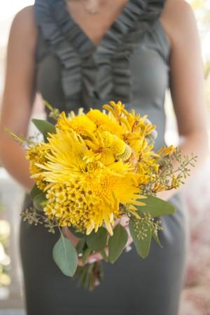 Yellow-Bouquet-Gray-Bridesmaids-Dresses