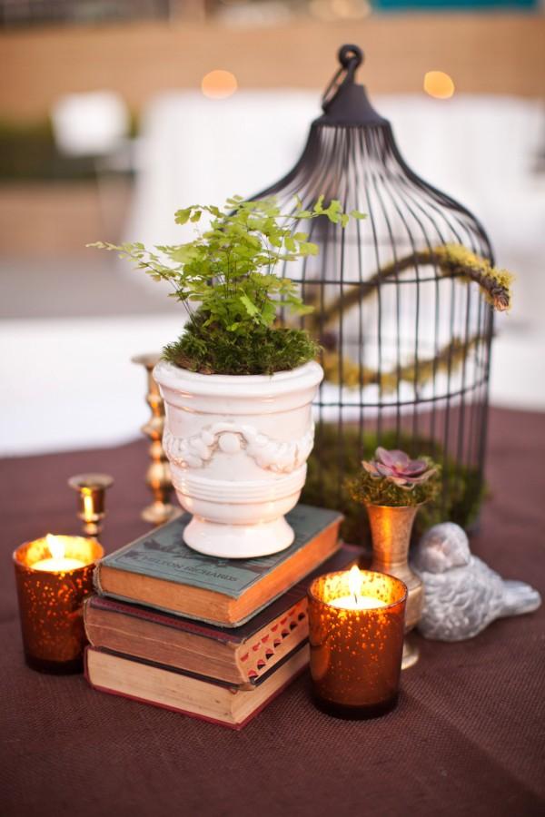 Books And Birdcage Wedding Centerpiece Elizabeth Anne Designs The