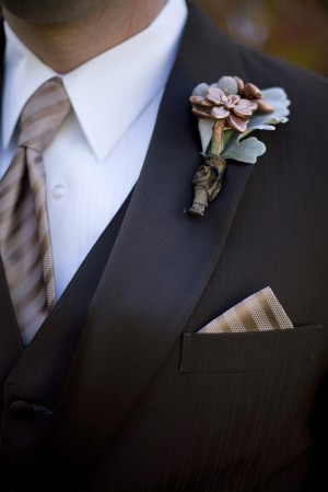 Copper-Striped-Tie-With-Succulent-Bout