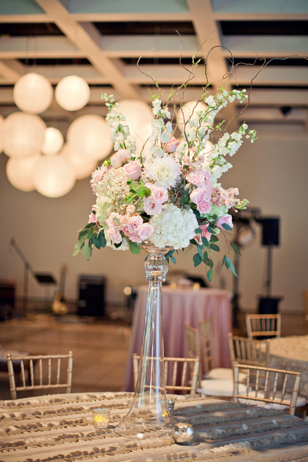 Tall pink and white centerpiece elizabeth anne designs