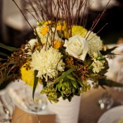 Yellow-Green-and-White-Centerpiece