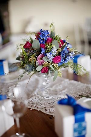 Cool Green Blue Pink Wedding Centerpiece