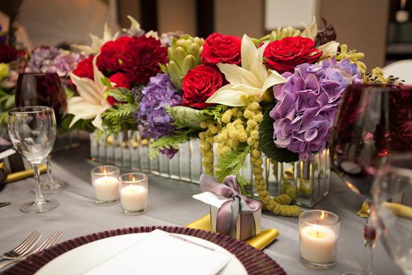 Elegant Purple Red Wedding Centerpiece 3