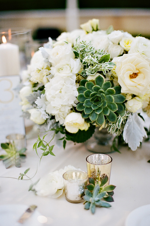 Ivory Rose And Succulent Centerpiece Elizabeth Anne Designs The