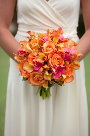 Orange-Hot-Pink-Orchid-Rose-Plumeria-Wedding-Bouquet