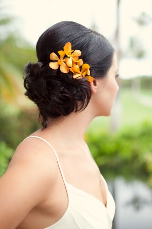 Orange-Orchid-Wedding-Updo-Hair-Flowers