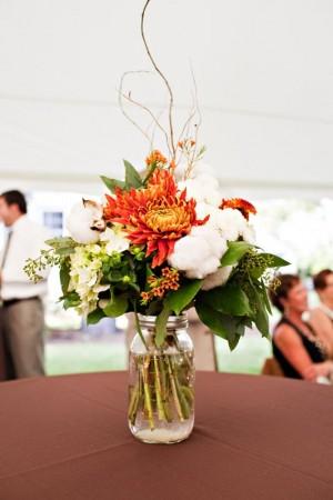 Orange-and-Cotton-Wedding-Centerpiece