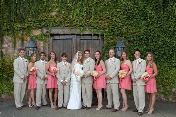Pink And Grey Bridal Party