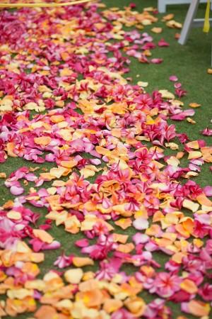 Rose-Pink-Plumeria-Ceremony-Aisle-Petals
