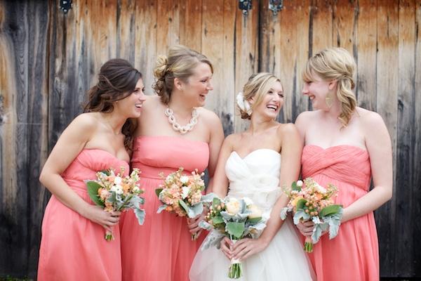 Salmon-Bridesmaids-Dresses