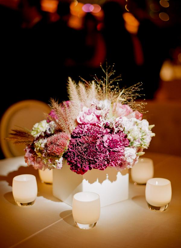 Soft elegant modern purple pink white wedding centerpiece
