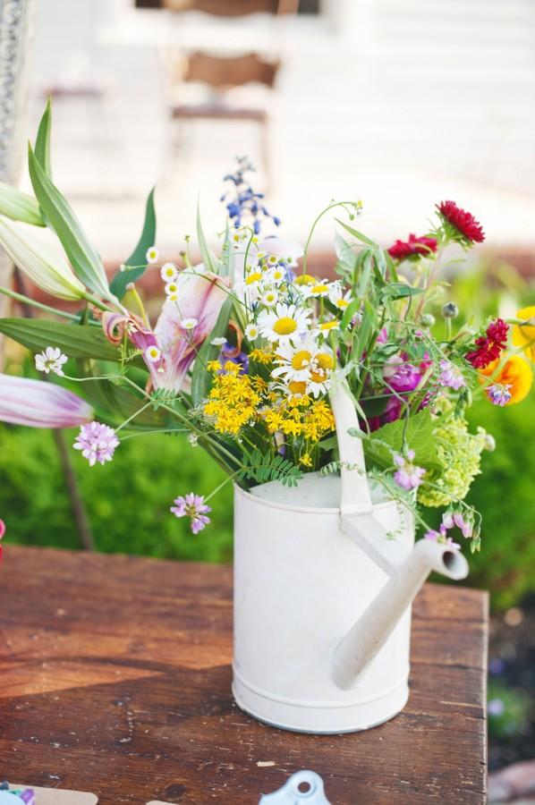 Wildflower And Watering Can Wedding Centerpiece Elizabeth Anne