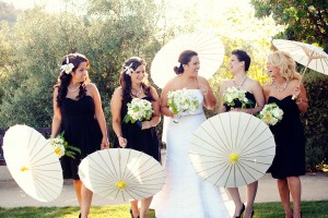 Black-and-White-Bridesmaids-Gowns