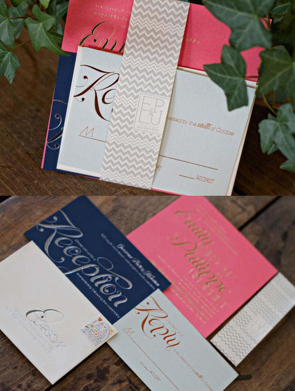 Gold-Silver-Copper-Metallic-Foil-Navy-Pink-Modern-Chevron-Wedding-Invitations