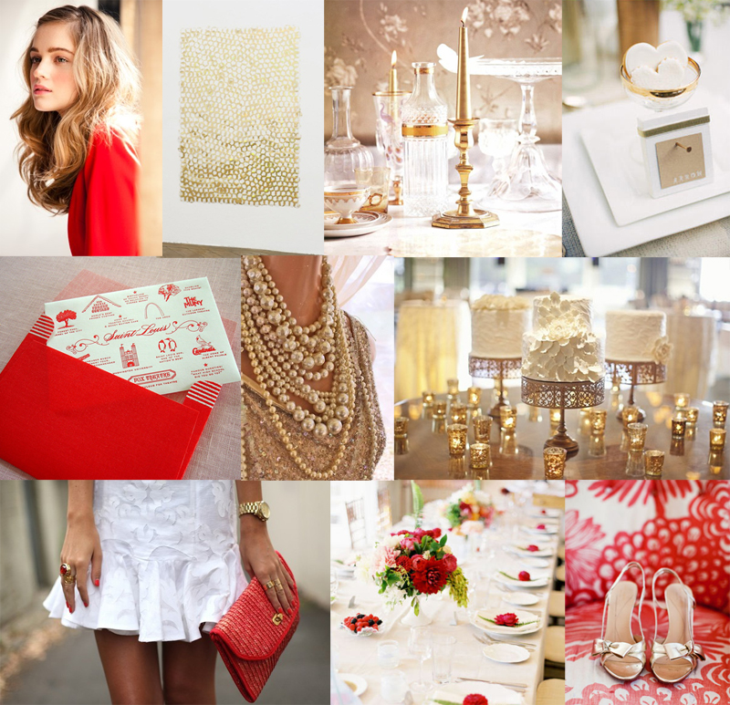 Wedding White Theme: Modern Glam Red Gold White Wedding Colors