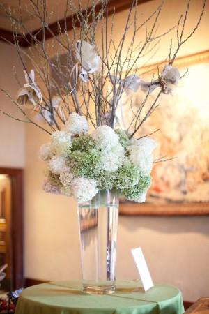 Tall-Green-and-White-Hydrangea-Wedding-Reception-Centerpiece