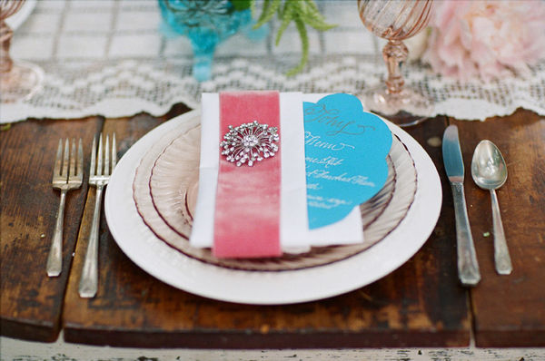 pink velvet ribbon wrapped napkin photo by picotte weddings via style