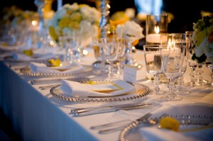 Yellow-Silver-White-Wedding-Place-Setting