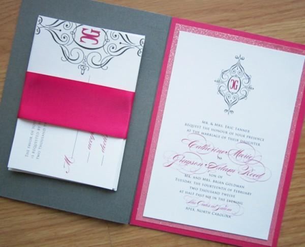 Elegant Glamorous Hot Pink Wedding Invitations