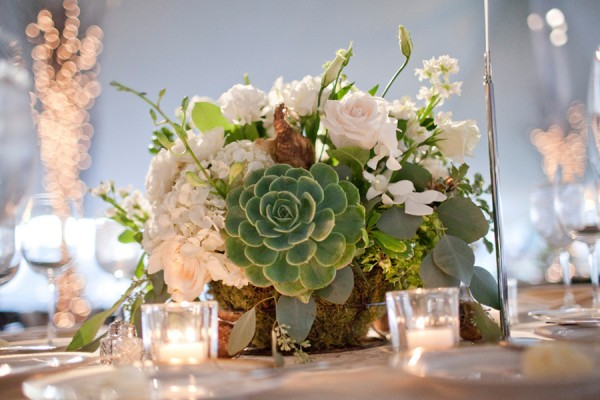 Succulent Wedding Centerpieces.Green And White Wedding Centerpiece With Succulent Elizabeth Anne