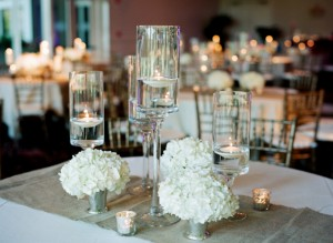 Hydrangea-and-Candle-Centerpieces