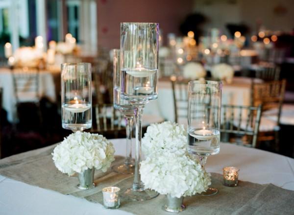 Hydrangea and candle centerpieces elizabeth anne designs