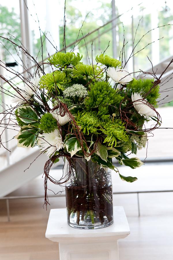Modern green branch floral arrangement elizabeth anne