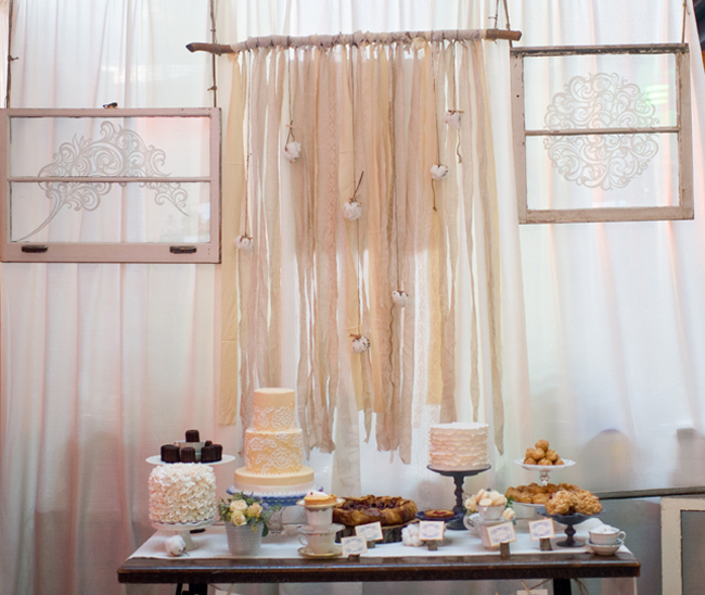 Wedding Dessert Table Backdrop: Natural-Gauzey-Cotton-Ribbon-Wedding-Dessert-Table