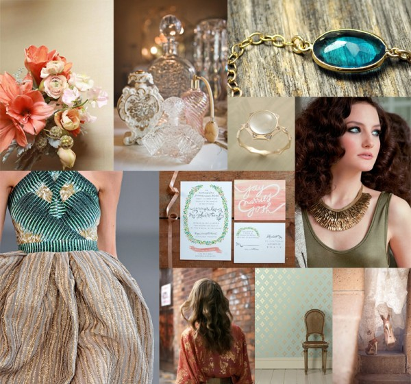 Teal-Coral-Gold-Wedding-Inspiration-Board