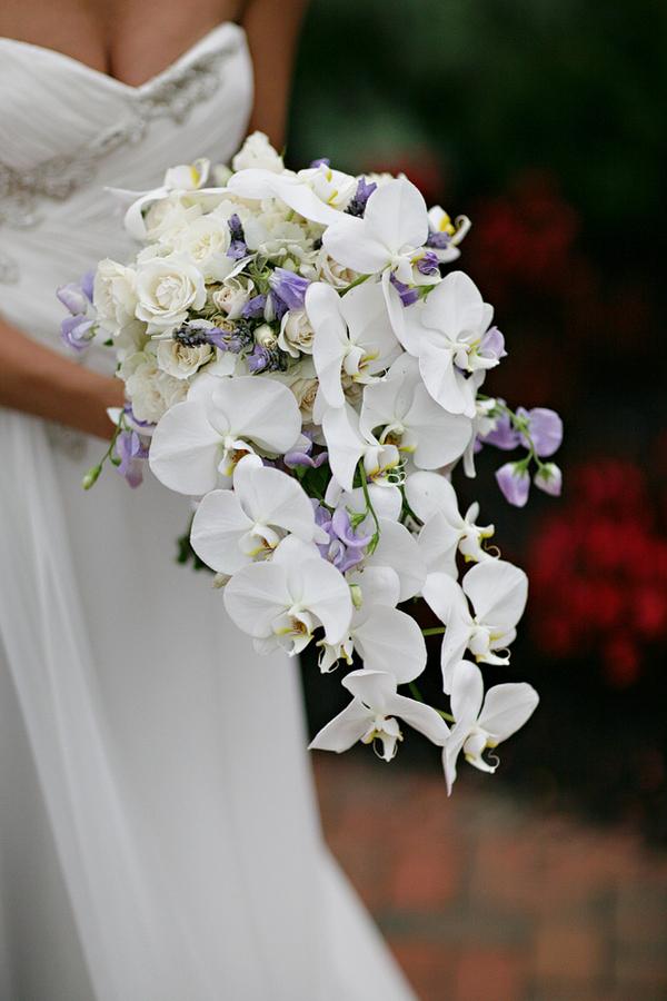 White Lavender Orchid Sweet Pea Bouquet Elizabeth Anne