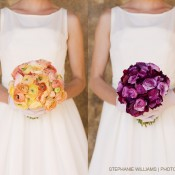 citrus-and-purple-ranunculus-bouquets