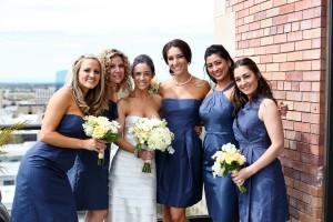 Blue-Indigo-Taffeta-Bridesmaids-Dresses