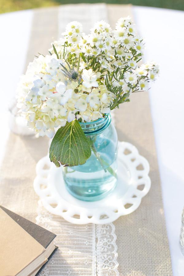 Hydrangea Mason Jar And Burlap Table Decor